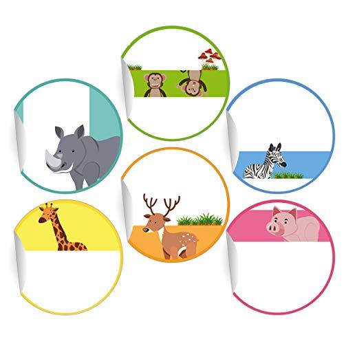 24 Kinder Namens-Aufkleber mit Zoo Tieren zum Beschriften, MATTE Papier Sticker für Geschenke, universal Etiketten, Namensschilder für Deko, Schule (4,5cm)