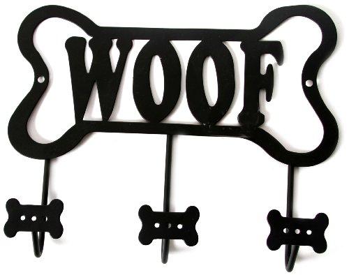 DEI Wall Rack 'Woof' Bone Leash Holder, Black