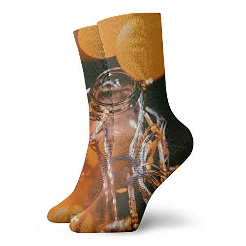 Kevin-Shop Transparante glazen vaas, kransen, korte sokken voor volwassenen, grappige sokken voor heren en dames, yoga, wandelen, fietsen, hardlopen, voetbal