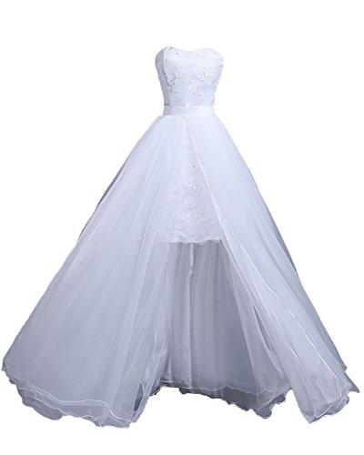 Tianshikeer Hochzeitskleider Kurz Zweiteilig Tüll Lang Herzausschnitt Brautkleider 2 Teilig