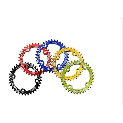 ZHTY Ajuste para 104BCD XT Multicolor Estrecho Ancho Ovalado Redondo 30T 32T 34T 36T MTB Rueda de Cadena de Bicicleta Plato de Ciclo Plato de bielas Circulares