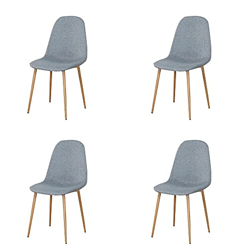 VERDELZ Linen/Leather/Velvet Dining Chair with Burlywood Color Metal Legs for Dining Room, Living Room, Office, Gray