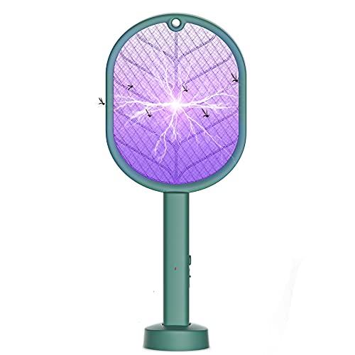Raqueta Antimosquitos Eléctrico, 2 en 1 Matamoscas Raqueta Mata Mosquitos con Base + El Gancho, Zapper Plagas Insectos Asesino Repelente con UV Iluminación LED para Usar Interior en Aire Libre