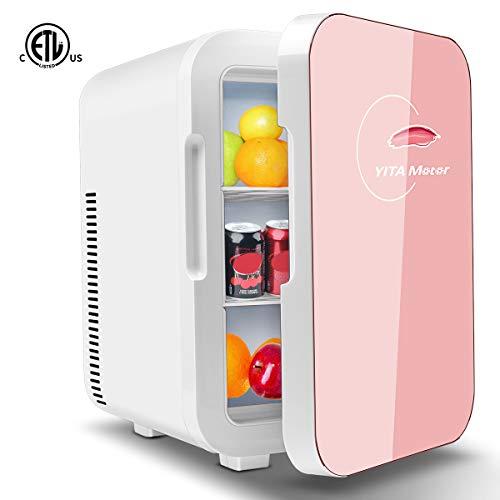 YITAMOTOR Pink Mini Skincare Fridge 10 Liter Compact Portable Personal Cooler and Warmer...