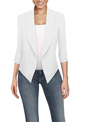 Womens Casual Work Office Open Front Blazer JK1133 White M