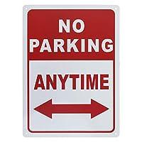 プレミアムアルミ製駐車場はありませんいつでも矢印でサインイン 道路標識をブロックしない UVプリント - No Parking/1個入り - 25cm W x 35cm L