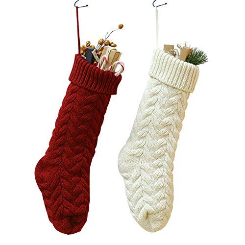 Weihnachtsstrumpf 2 Kamin große gestrickte Christmas Stocking Strumpf Goodie Bags zum befüllen und aufhängen groß Ideale Weihnachtsdekoration Weihnachtsbaumschmuck Tischdekoration Weihnachtsstrümpfe