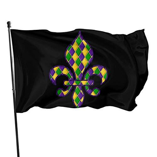 Fleur De Lis Karneval 3X5 Fußfahne Banner - Langlebig Langlebiger für den Außenbereich UV-geschützt