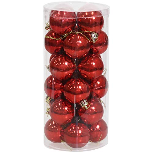 Sunnydaze 24-Count 40mm Shatterproof Christmas Ball Ornaments with Hooks Included - Merry and Bright Tree Decorations Set for Holiday Decor and Gatherings - Red