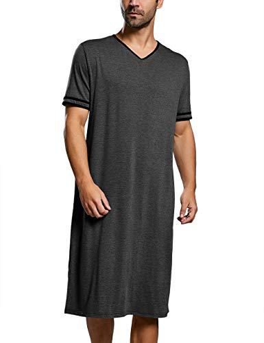 Nachthemd Herren Kurzarm Schlafanzug Lang Nachtwäsche Einteilig M-3XL Lose Sommer Pyjama Nachtshirt, A-Dunkel Grau, L