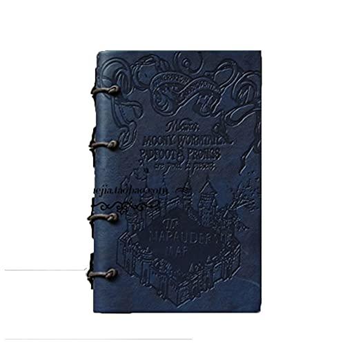 HBNNBV Diario Bandas Creativas Vintage PU Cuero Cuaderno Cuaderno Cuaderno Cuaderno Cuadernos Diarios Suave Forrado (Color : Blue)