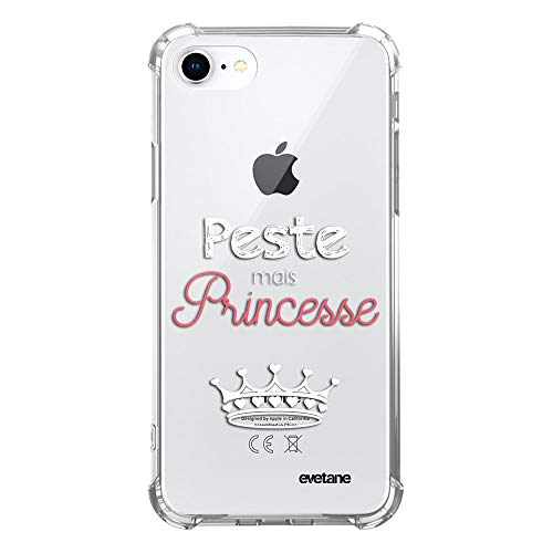 Evetane - Carcasa Compatible con iPhone 7/8/iPhone SE 2020, Silicona, Esquinas antigolpes, Resistente, protección Completa, Resistente, Transparente, Pesto Pero Princesa, Color Blanco