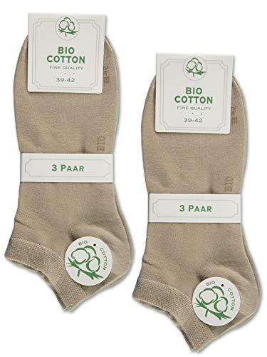 6 Paar Sneaker Socken Bio Baumwolle Herren und Damen ohne Naht mit Komfortb& (35-38, 6 Paar - Beige)
