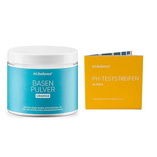 tri.balance Basenpulver Orange 300 g - 1er Pack inkl. 55 pH-Teststreifen - E-Book Entsäuerungskur I Pro I Vorteilspaket für den Säure-Basen-Haushalt