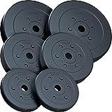 ScSPORTS 30 kg Hantelscheiben-Set, Kunststoff, 2 x 7,5 kg, 2 x 5 kg, 2 x 2,5 kg Gewichte, 30/31 mm...