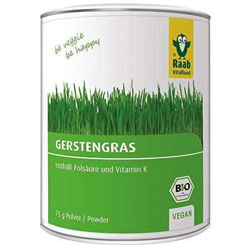 Raab Bio Gerstengras-Pulver, rückstandskontrolliert, vegan, Rohkost-Qualität, Raw Food, glutenfrei, enthält natürlicherweise Eisen, Folsäure und Vitamin K, 1er Pack ( 75 g Dose)
