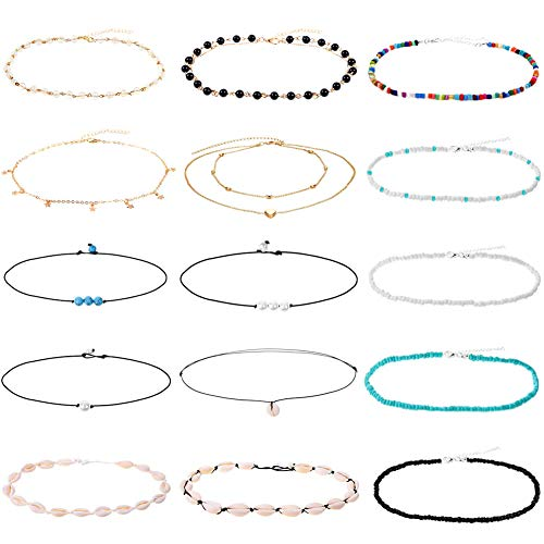 PAXCOO Chocker Necklaces for Women, 15pcs Shell Necklace Pearl Chokers Seed Bead Chokers for Vsco Girl Women and Teens