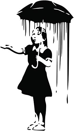 Banksy Mädchen mit Regenschirm Wandaufkleber Vinyl Wandtattoo DIY Wohnkultur Wohnzimmer Schlafzimmer Dekoration Wandbild 60X106 CM