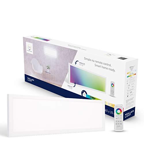 tint von Müller-Licht Smartes LED-Panel Loris rechteckig, 20x60cm, white+color (Weißtöne 1800-6500K & farbiges Licht RGB), direktes + indirektes Licht, 1800 lm, Zigbee, inkl. Fernbedienung