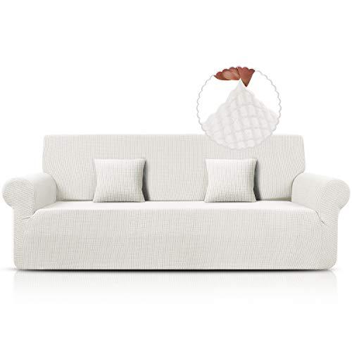 Funda para sofá de jacquard, elástica, de spandex, disponible en varios tamaños y colores (blanco, 4 plazas)
