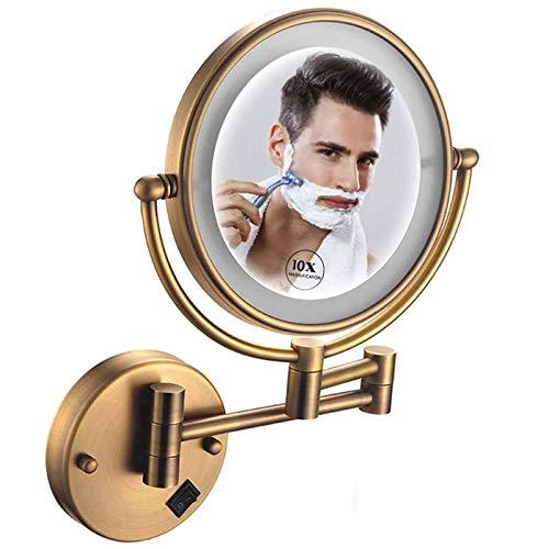 HGXC Espejo de Maquillaje 10X, Espejo de Maquillaje de Doble Cara, Espejo de Maquillaje de 8 Pulgadas con Luces LED, rotación de 360 para Maquillaje, Recargable por USB