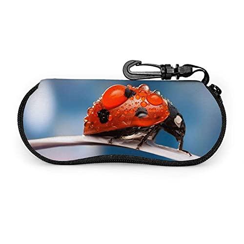 Tcerlcir Estuche para gafas Estuche para gafas con estampado de mariquita para mujer Estuche para anteojos con mosquetón 17X8cm