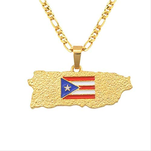 BACKZY MXJP Necklace Gold Color Map of Puerto Rico Necklaces Flag Pendants for Women Men Jewelry Pr Puerto Rican Gifts Necklace