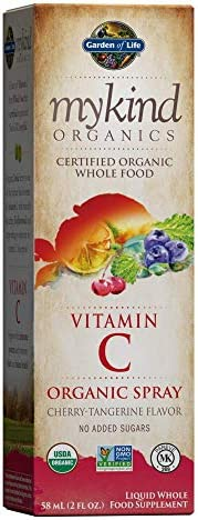 Garden of Life Vitamin C with Amla - mykind Organic C Vitamin Whole Food Supplement for Skin Health, Cherry Tangerine Spray, 2oz Liquid - Packaging May Vary