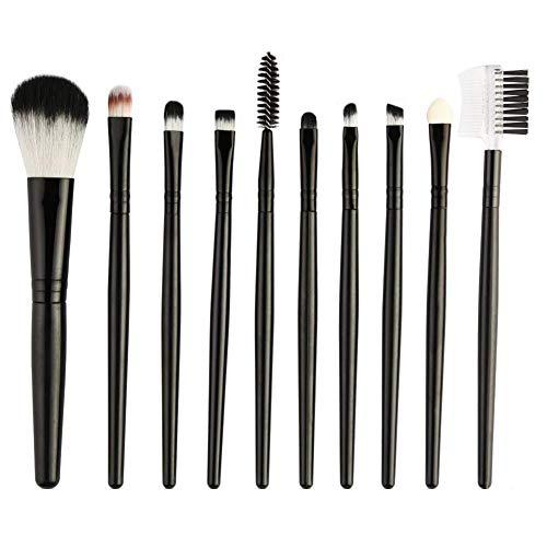 Maquillage Pinceaux, 10Pcs Outil De Maquillage Ensemble Pro Ombre À Paupières Sourcil Peigne Cils Éponge Brosse Cosmétique - Noir + Noir Élégant Et Populaire