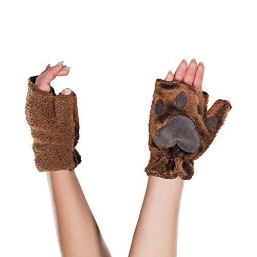 Amakando Außergewöhnliche Plüsch-Handschuhe Bären-Pranke / Braun / Fingerlose Tier-Pfoten Fäustlinge / Wie geschaffen zu Fasching & Mottoparty