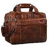 STILORD 'Experience' Vintage Lehrertasche Leder groß für Herren Damen XL Aktentasche Business Schulter- oder Umhängetasche für Laptop Trolley aufsteckbar, Farbe:antik - braun