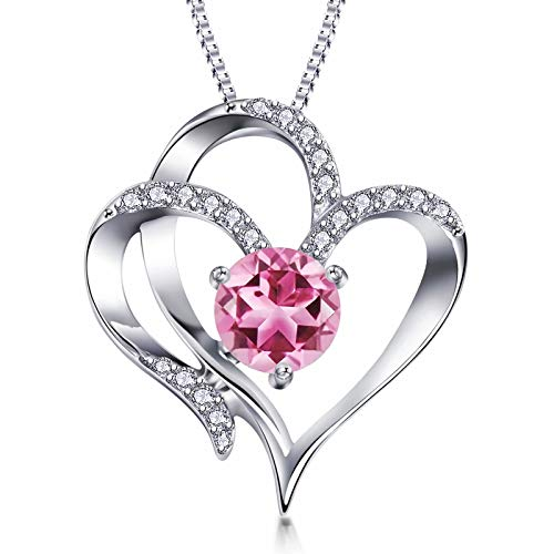 Heart Necklace 18k Gold Plated Jewellery Necklaces for Women Silver Necklace 5A Cubic Zirconia Sterling SilverNecklace October Birthstone Pendant Necklaces Gifts Jewelry for Women Mum Girls