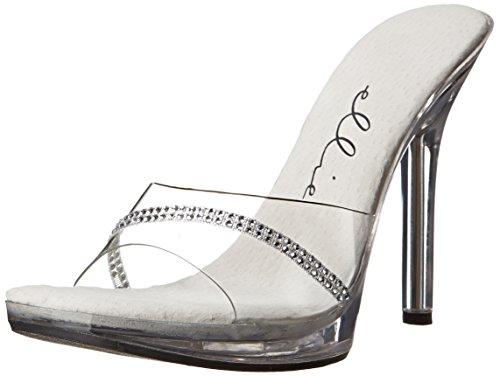 Ellie Shoes Women's 502-Jesse Dancer Sandal - Rhinestone Mule, Clear, Size 6
