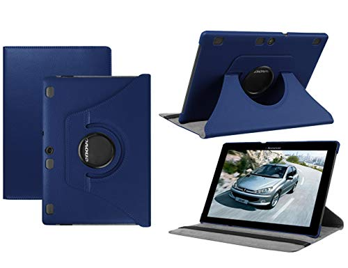 HereMore Lenovo TB-X103F/Tab 2 A10-30/Tab 2 A10-70 Hülle, 360 Grad Rotierend Schutzhülle Tasche für Lenovo Tab 3 10 Plus/Tab 3 10 Business 10,1 Zoll Tablet, Dunkelblau (mit Auto Schlaf/Wach Funktion)