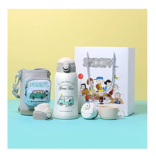 swq Botella aislada para niños, 21.1 oer, Paja de Dibujos Animados Linda de Acero Inoxidable con Bolsa de Bloqueo y Mensajero/niño/niña/niño/Escuela (Color : White)