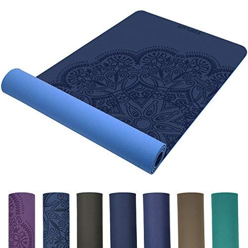 TOPLUS Preumium Yogamatte aus hochwertigen TPE, rutschfest Yogamatte Gynastikmatte Übungsmatte Sportmatte für Yoga, Pilates,Fitness usw.-Hellblau