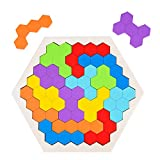 Wooden Hexagon Puzzles for Kids Adults, WOOD CITY Brain Teasers Tetris Puzzle, Logic IQ Game Tangram Shape Blocks, STEM Montessori Educational Toys Gift for Children of All Ages