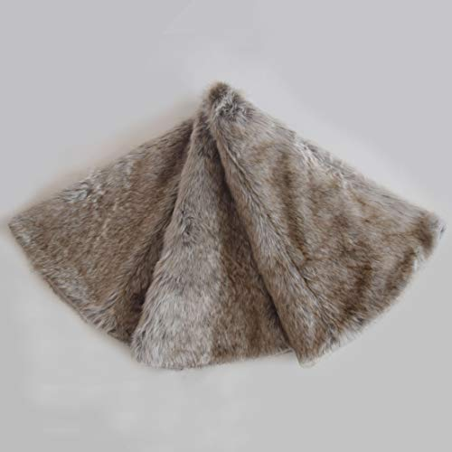 Gireshome Deluxe Grey Brown Multi Colors,Grey Stripe and Beige Grey Mixted Color Faux Fur Christmas Tree Skirt -36inch