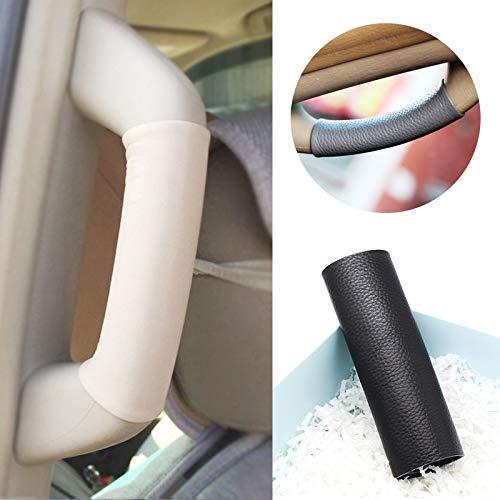 Jejhmy Für Toyota Prado 2003 2004 2005 2006 2007 2008 2009 Innendecke Sicherheitsgriffabdeckung aus Rindsleder Handnähverkleidung Eine Säule schwarz