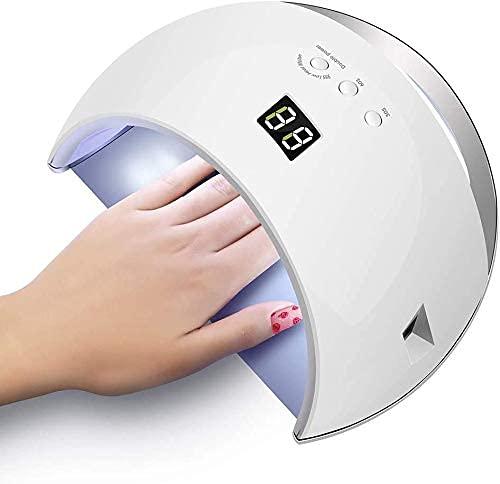 TDMYCS Gel UV Lámpara de uñas LED 48W Secador de uñas Polaco Gel UV Luz de uñas con 3 temporizadores for Clavos de Gel LED UV Lámpara de uñas for la lámpara de curado de uñas de Gel (Color : White)