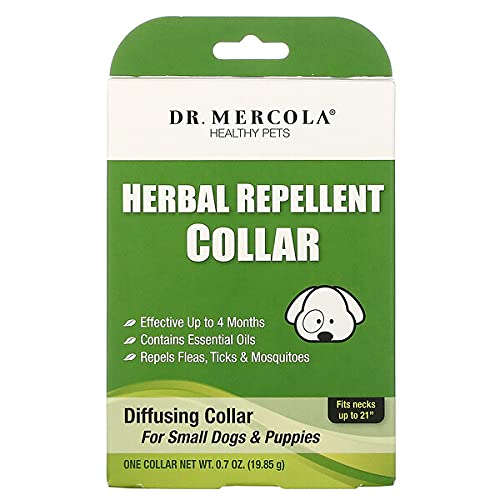 Dr. Mercola Herbal Repellent Collar for Small Dogs Puppies (Fits Necks up to 21')