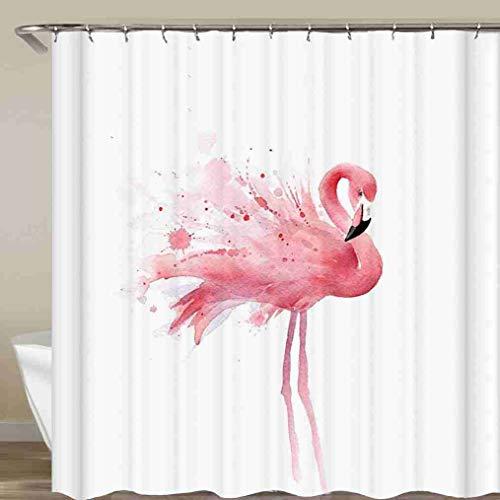 YUNBABA Watercolor Pink Flamingo Design Shower Curtian Waterproof Curtain for Bathroom 72x72 Inch