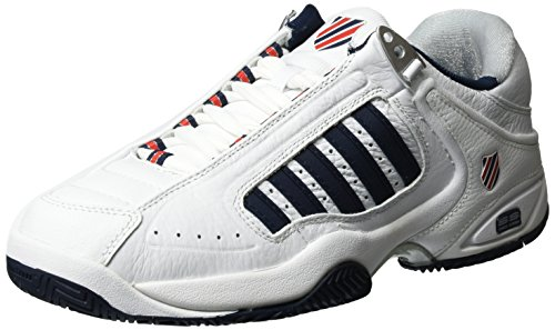 K-Swiss Defier Rs - Zapatillas de tenis Hombre, color blanco - white (white/dressblue/fieryred 164), talla 41.5 EU