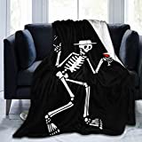 Social Distortion Skeleton Blanket Warm Hugs Ultra Soft Throws Lightweight Couch Sofa Office Fuzzy Blanket Applicable All Season for Bed Couch Living Room