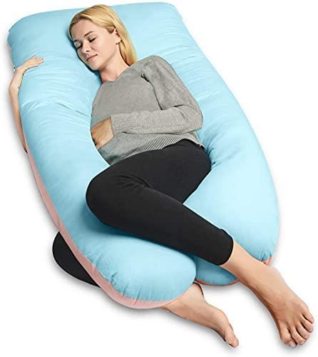 QUEEN ROSE Oreiller de grossesse, oreiller de corps avec la couverture remplaçable et lavable (140_x_78_cm, Coton, Bleu et...