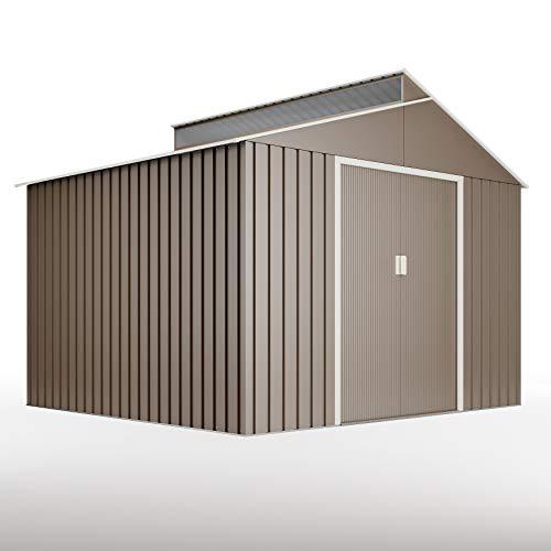 *HOGGAR Bjorn Metall Geräteschuppen Gartenhäuschen 7,25m2 – G01ME0029 – grau*