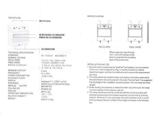 Baomain Single Phase DIN-rail Type Kilowatt Hour kwh Meter 220V 60Hz 20 (100) A