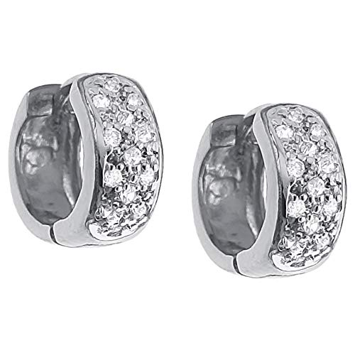 Women's Hoop Earrings 15 mm Rhodium-Plated 925 Silver and Zirconium Oxide
