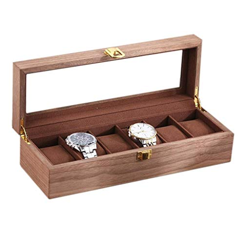 Caja de almacenamiento para relojes con tapa de cristal y almohadas de almacenamiento desmontables para hombres y mujeres