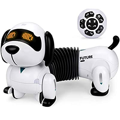 Remote Control Dog Toy, RC Puppy Pet Toy for Kids Boys 2 3 4 5 6 7, Dachshund Walking, Singing, Dancing, Interactive, Gesture Sense, Follow, Programmable Toy for Girls Toddlers. by Forty4